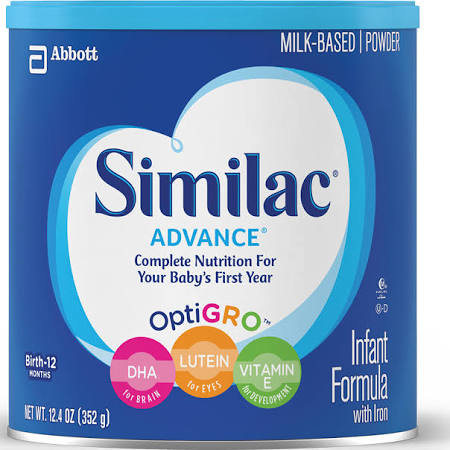 Similac Advance Complete Nutrition Powder Baby Formula, Birth-12 months - 12.4 oz canister