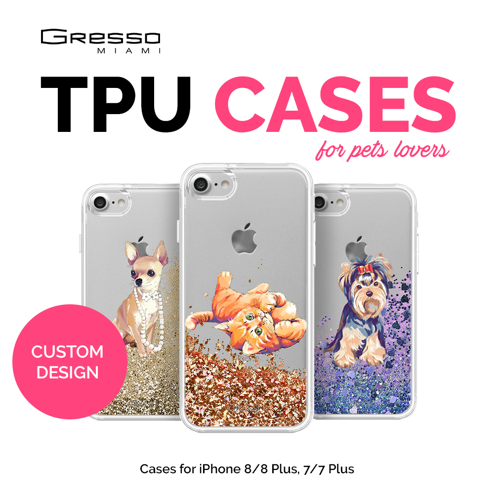 Transparent TPU Wallet Case for iPhone 8 7 6s 6 Plus for Pet Lovers with Cute Design Printing and Liquid Glitter Wholesale OEM