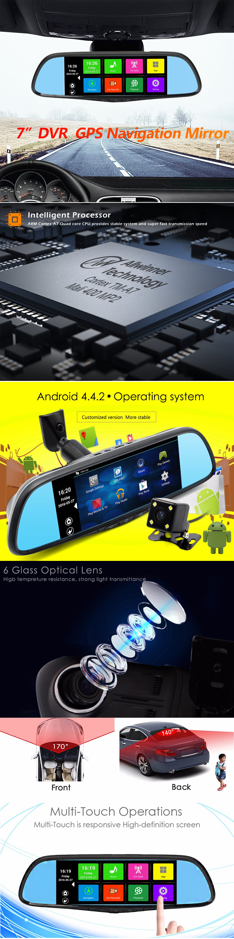 7.0 inch Android 4.4 system rearview mirror Bluetooth gps navigation dual camera 1080p car dvr