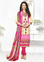 2017 Latest design Cream Pink Colored Leon Printed Salwar kameez/Women Occasion Casual Party Wear Indian Ethnic Suits