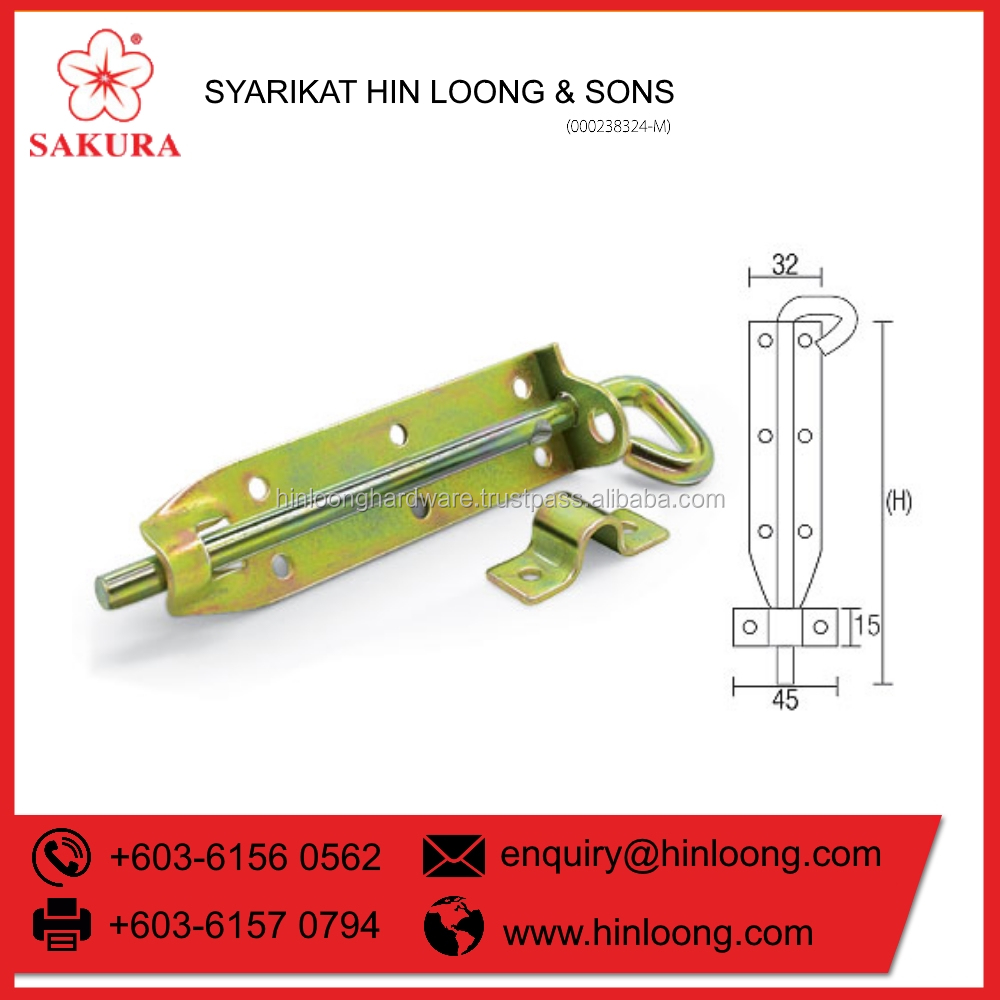 Hin Loong Stainless Steel Hook Bolt Door Lock (SPB 100)