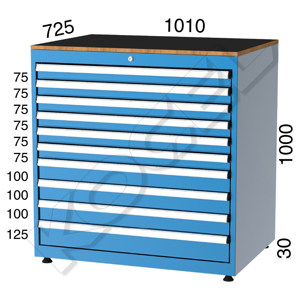 11100 - METAL DRAWER CABINET WITH 10 DRAWERS