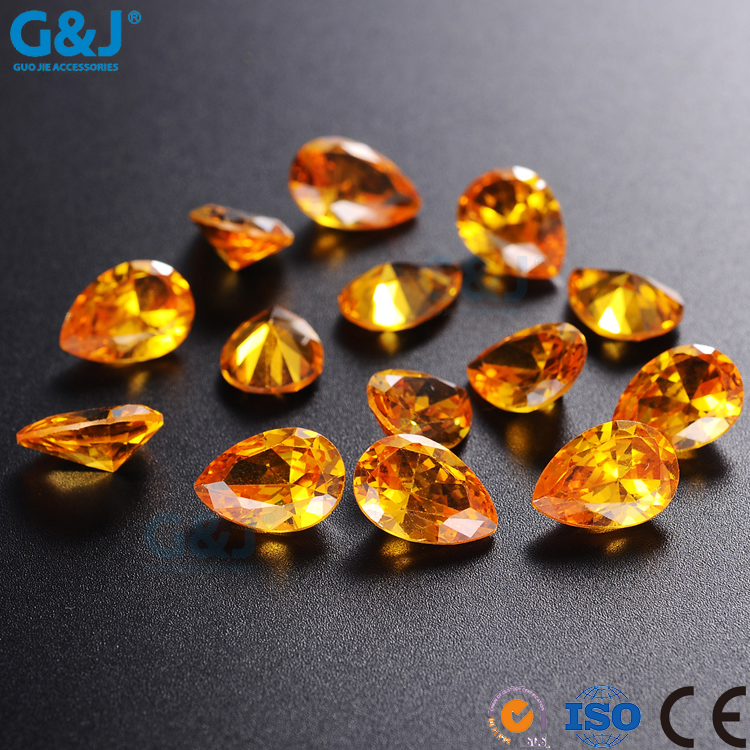 guojie brand wholesale price synthetic rough diamond Drop Shap chaton Bulke for clothing accessories Crystal Loose Stones