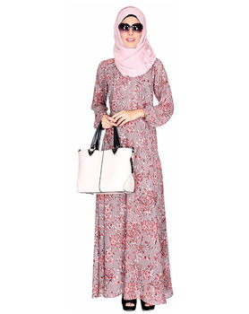 Dubai Abaya Wholesale Oak Printed Long Maxi Dress Muslim Dress Islamic Clothing