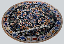 Pietre Dure & Carved Round Table Tops Marble Medallion , Stone Mosaic Medallion