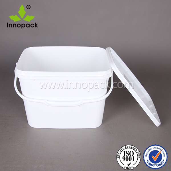 rectangular 9 kg plastic food bucket white pail for ice cream