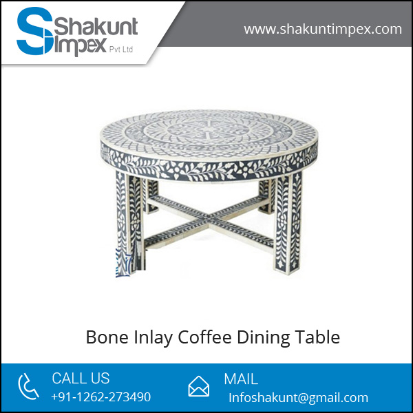 Bone Inlay Round Coffee Table at Reasonable Price