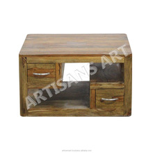 Natural Solid Wood Coffee Table With Drawers, Living room Furniture, Indian Wooden Home Furniture