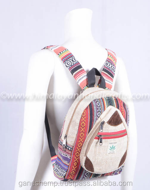 Latest designing  Multi pocket and Aztec pattern  High qualities Pure hemp backpack  for kids and teenagers  HBBH 0073