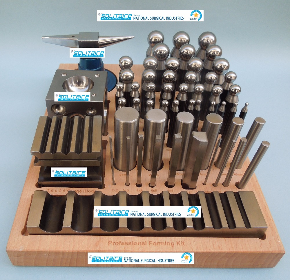 56 Piece Doming Block Dapping Punch Swage Set For Jewellers Jewellery Tool