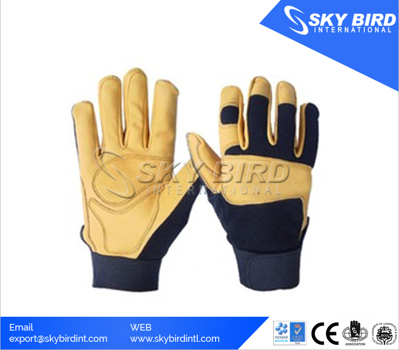 Goatskin and Spandex Safety Mechanics Gloves with Elastic Cuff