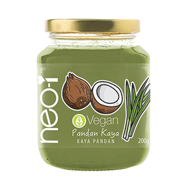 100% VEGAN AND GLUTEN FREE 200GRAM COCONUT JAM PANDAN FLAVOUR WITH NO ARTIFICIAL COLOURINGS, FLAVOURINGS AND ADDED ADDITIVES