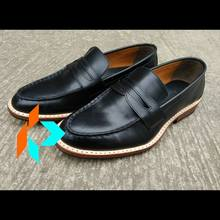 Handmade Bespoke Men Genuine Leather Black Penny Loafer Dress Shoes Customized