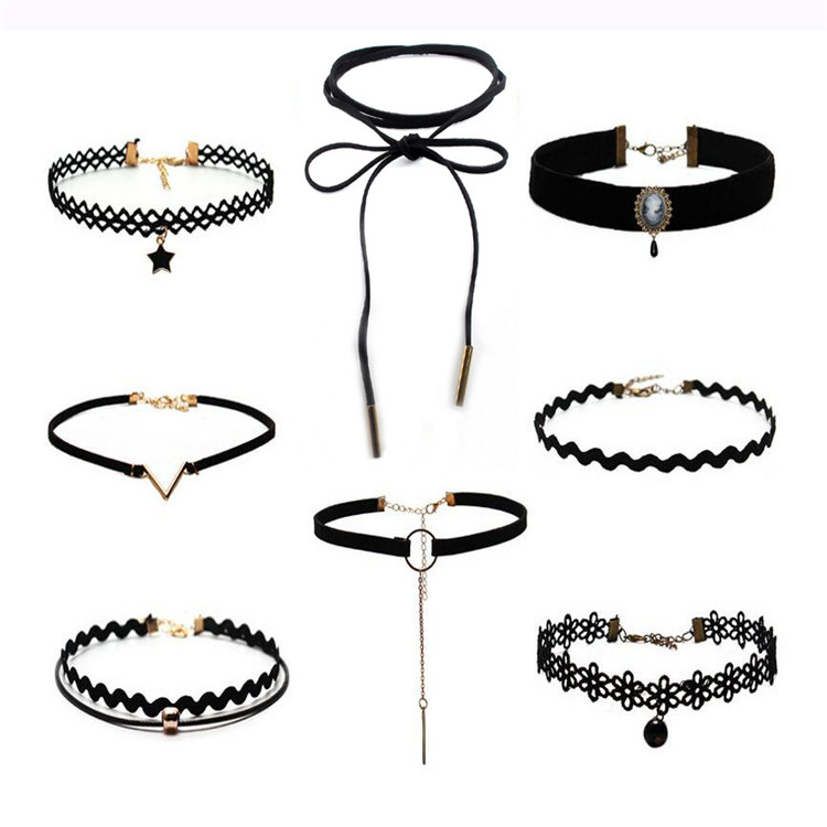 Hot Sale New Arriaval Lace Leather Velvet Choker Necklace Heart Collar Necklace for Women Jewelry Wholesale
