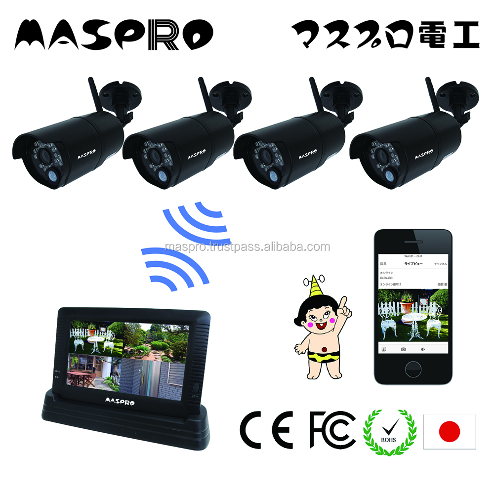 Hot-selling wireless ip camera and LCD monitor for home security at reasonable prices , max 4 cams are installed
