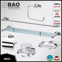 Bathroom accessories sets - Stainless Steel 304 (6M3C) - Soap DishTowel bar, Towel Ring, Glass Shelf, Tumbler Holder