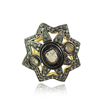 Rose Cut Diamond 925 Silver Victorian Ring Jewelry
