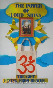 Lord Shiva poster in frame (M size) ** Free with handmade OM canvas bag