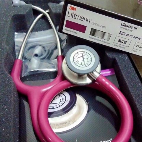 "Pickles 3M Littmann 2122 Stethoscope Classic II 27"" 28"" Pediatric Red Raspberry"