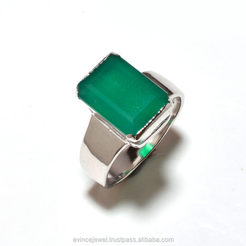 925 Sterling Silver Natural Gemstone Green onyx Mens Rings jewelry