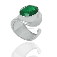 Adjustable Wholesale Emerald 10 * 14 mm Oval gemstone 925 silver rings