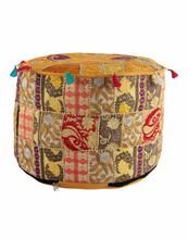 Patchwork Pouf Ottoman,Vintage Ethnic Indian Pouf Ottoman Foot Stool