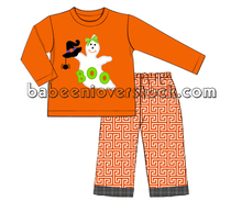 Boo pattern for Halloween applique clothing set