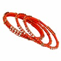 Jaipur Mart Gold Plated Orange Color Glass Stone Bangles Set PLKB282-2.6