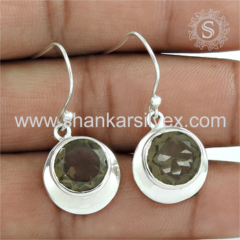 Graceful silver earring smoky quartz gemstone 925 sterling silver earrings jewelry manufacturer