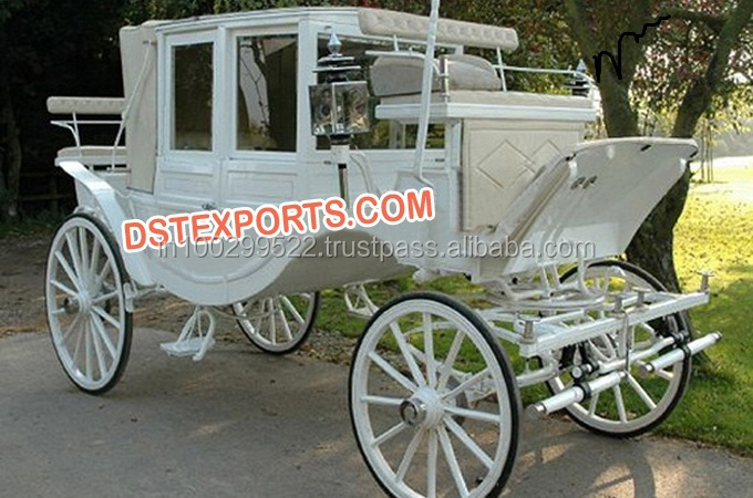 Elegant Covered Horse Carriage/White Buggy Carriage