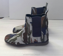 Camouflage Blue Suede Chelsea Boots Men, New Style Hand Made Genuine Leather Boots