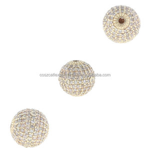 Pave Diamond Beads Ball Popular Design Finding Beads 925 Sterling Silver Wholesale Finding Jewelry