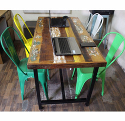 Modern Industrial Style Metal Leg Durable Long Big Recycle/Reclaimed Wooden Office Cafe Restaurant Design Table