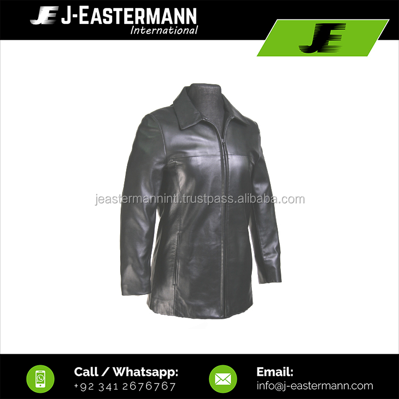 Ladies Cheap Price Custom Made Plain Leather Coat with Front Zip Closure