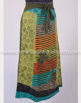 Stylish Razor Cut Embroidered Floral Patches & Print Iguana Green Maxi Wrap Around Summer Skirt HHCS 116 B