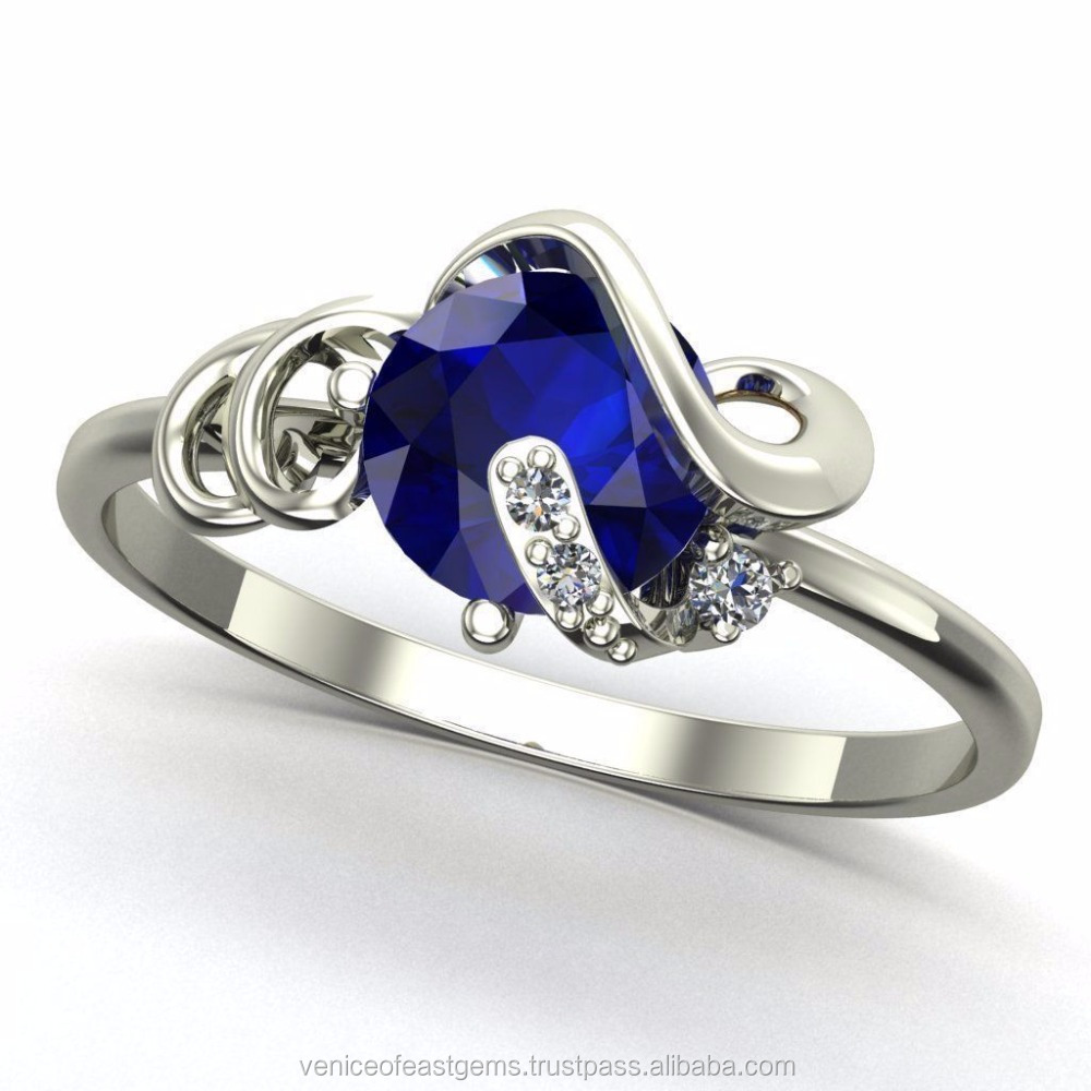 14K Yellow Gold or white gold with Natural Beautiful Blue Sapphire Engagement Ring (Certification is available if required)