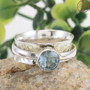 Natural quality blue topaz meditation ring silver spinner band wholesale supplier silver jewelry spinner ring