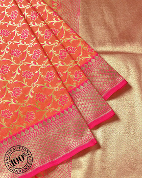 Designer Orange Katan Silk Banarasi Saree Floral Zari Weaving Banarasi Sarees Collection in Varanasi