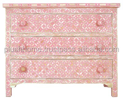 BONE INLAY CHEST OF DRAWER DRESSER ARMOIRE