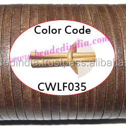 Leather Cords 2.5mm flat, metallic color - pale yellow. Weight: 550 grams. CWLF25035