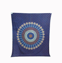 Indian wall decor printed peacock tapestry 100% cotton wall hanging bohemian