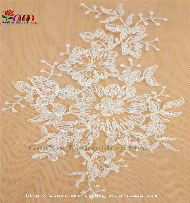 beautiful embroideried lace ivory lace fabric with cording