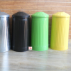 Galvanized Metal Trash can with lid Dustbin with green yellow black and silver powder coated Garbage bin