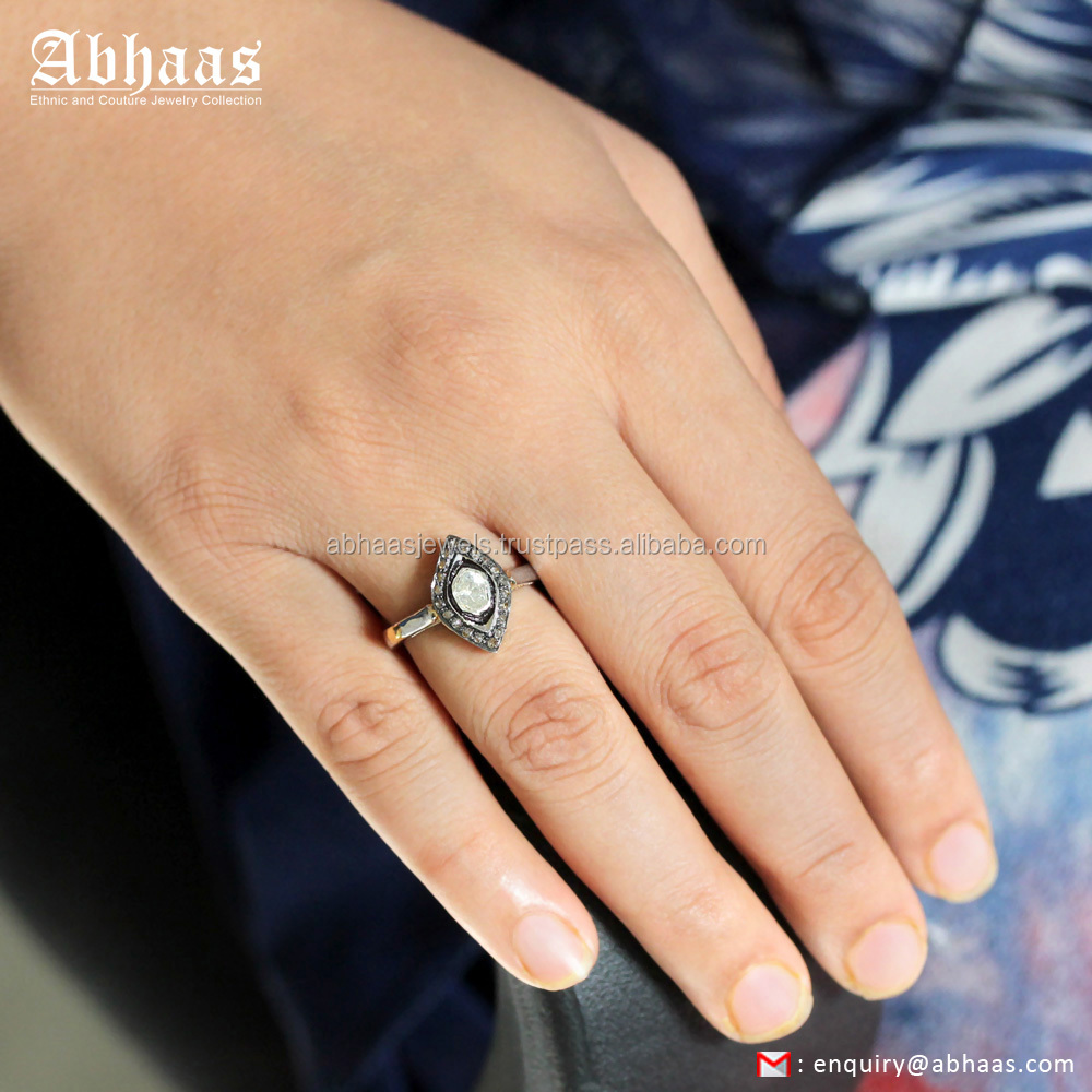 Wholesale 925 Silver Jewelry Rose Cut Diamond Marquise Shaped Ring