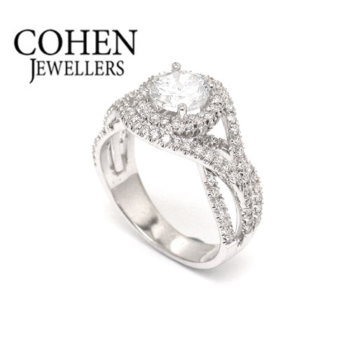 Elegant engagement ring, 14K White Gold and natural round cut Diamonds, 1.9 carats, size custom