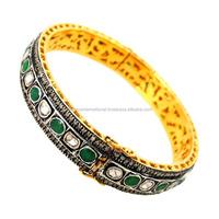 Rose Cut Diamond Wedding Bracelet 14k Gold Emerald Diamond Bangle
