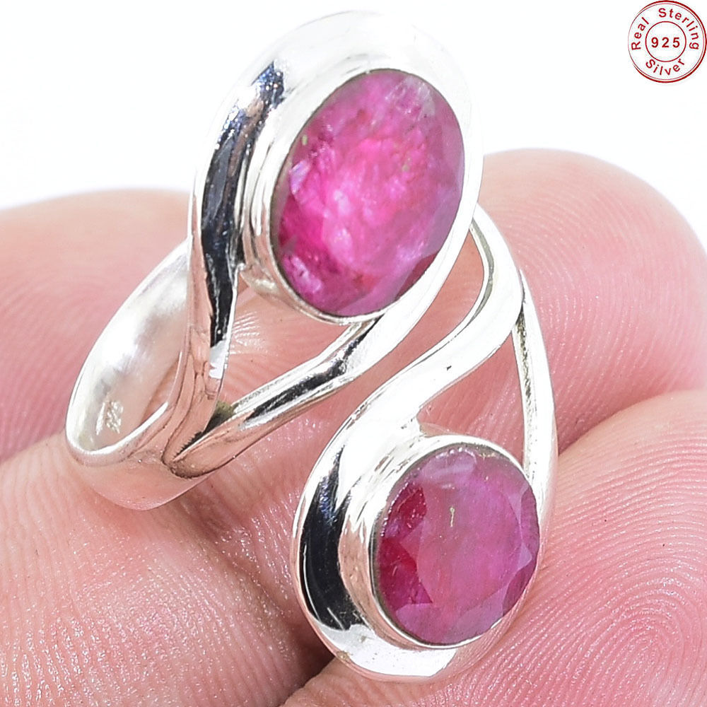 Latest engagement Ruby ring wholesale price 925 sterling silver bezel ring handmade silver jewelry ring