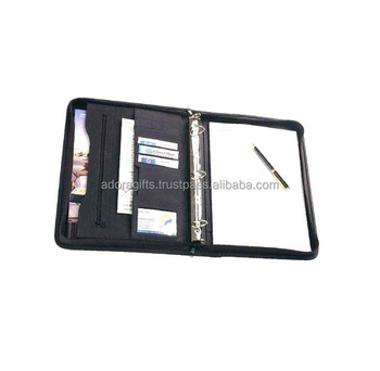 A4 leather 3 ring binder files folder portfolio with zipper