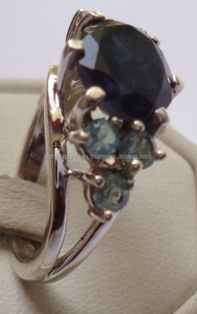 Shiny beauty Sterling Silver jewelry wholesale 925 sterling silver Sapphire Blue Topaz Ring