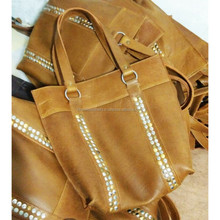 Real Leather Woman shoulder bag with rivets